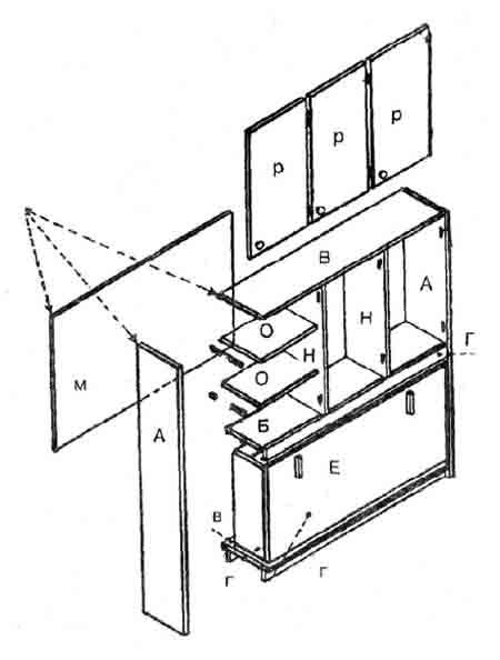 Схема сборки шкафа с откидной