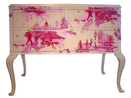 Pink toile chest,